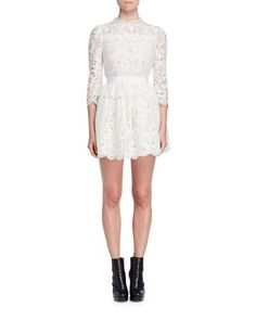 ALEXANDER MCQUEEN 3/4-SLEEVE FLORAL-LACE DRESS, IVORY. #alexandermcqueen #cloth #