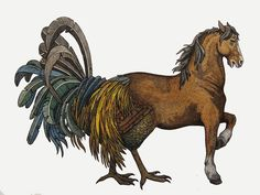 A hippalectryon (or hippalektryon, from Greek ἱππαλεκτρυών) is a type of fantastic hybrid creature of Ancient Greek folklore, half-horse (front) and half-rooster (hind), including the tail, wings and hind legs. Its colour varies between yellow and reddish.