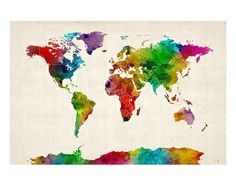 Watercolor Map of the World Map Impressão giclée premium por Michael Tompsett na AllPosters.com.br COM OS PAISES