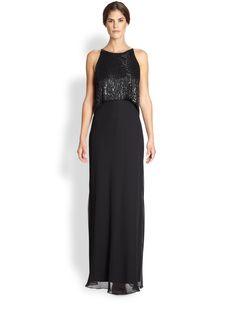 Aidan Mattox Sleeveless Sequin-Bodice Gown
