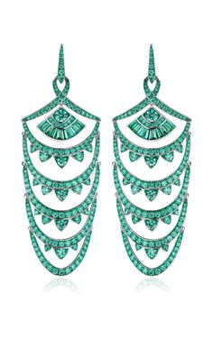 Stephen Webster - Cascading arches encrusted with glistening pave and baguette cut emeralds, set in 18K gold and rhodium