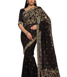 Buy Black Embroidered Bhagalpuri silk Saree With Blouse (1465) bhagalpuri-silk-saree online