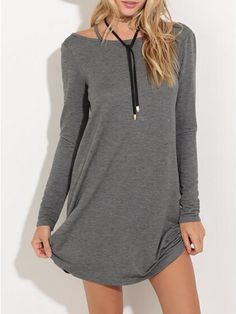 Long Sleeve Strap Back Shirt Dress