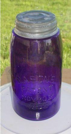 PURPLE  MASON`S  PATENT NOV. 30 th.1858  QUART FRUIT JAR THAT HAS AN OLD ZINC LID