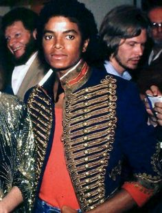 #MichaelJackson Off The Wall Era: Red Shirt, Miltiary style blue jacket with gold and red imprints. Includes Blue Jeans