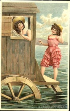 Divided Back Postcard Bathing Beauties Swimsuits & Pinup Vintage Artwork, Vintage Prints, Vintage Pictures, Vintage Images, Bathing Costumes, Bathing Beauties, Illustrations, Up Girl, Poster