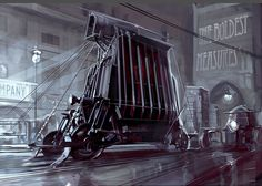 Dishonoured Vehicle Concept Art - Although set in a Victorian era, the game Dishonoured contained more than its fair share of futuristic elements, with robots, force fields and this bizarre vehicle. Although it was used in the game, no full description of its use was ever made, but from what can be assumed, it is military and may be some form of a peace-keeper.