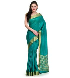 Green Art Silk Saree with Zari Border Trendy Sarees, Art Silk Sarees, Weaving Art, Green Art, Usa Store, Sari, Fashion, Saree, Moda
