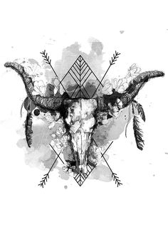 Oliwia Major Bo' illustratio for tote / style - Tattoos - Tattoo-Ideen Bull Skull Tattoos, Bull Skulls, Deer Skulls, Body Art Tattoos, Indian Skull Tattoos, Toros Tattoo, Illustrations, Illustration Art, Widder Tattoos