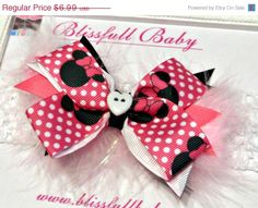 Easter Sale 15 OFF  Minnie Mouse Bow  Baby by Blissfullbaby, $5.94