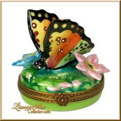 Colorful Butterfly Among Flowers Limoges Box (Beauchamp).