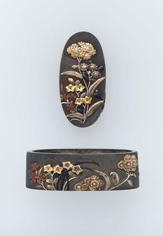 Fuchi-kashira with designs of autumn flowers. Edo period Late 18th–early 19th century - Yanagawa Naoharu (Japanese, born in 1750) http://www.mfa.org/collections/object/fuchi-kashira-with-designs-of-autumn-flowers-15925