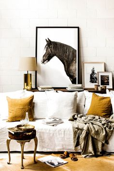 Fall Art Trends: Prairie Art : Shop domino for the top brands in home decor and be inspired by celebrity homes and famous interior designers. domino is your guide to living with style. Sweet Home, Kara Rosenlund, Famous Interior Designers, White Couches, White Walls, Equestrian Decor, The Design Files, Mellow Yellow, Interiores Design