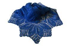 Blue Mohair Throw Baktus Shawl For Women ItWasYarn by ItWasYarn