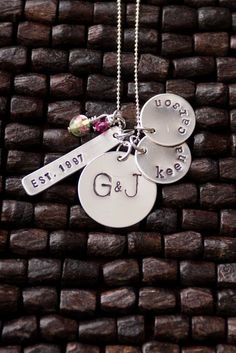 Great Family Necklace! (Year married, husband and wife initials, kids names--more charms can be added.) From @charmyoself