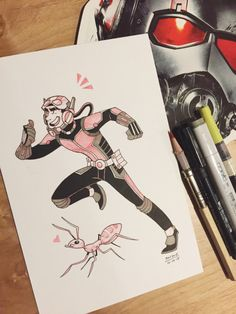 This one was almost late!! Busy afternoon haha, but I made time for Inktober #16, Ant-Man! And bonus Crazy Ant~