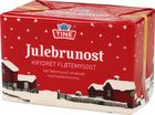 Julebrunost is a package of Norwegian Christmas brown cheese.