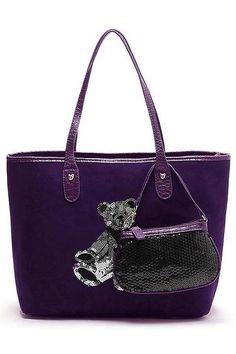 Cute Bear Canvas Tote Purse Bag 2 In 1 Purple Lulugift