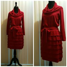 BCBGMaxAzria Knit Dress Red knit dress with cowl necklace and tiered skirt.  Also has tie to cinch the waist. BCBGMaxAzria Dresses