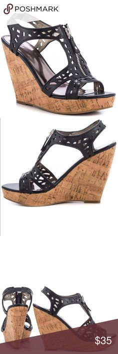 Black & brown  front zipper Open toe sandal wedge Carlo by Carlos Santana Geneva black women shoes new but I don't have the tags or box Carlos by Carlos Santana  Shoes Wedges