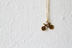 Brass Bike Necklace / Gift For Her by d3bz on Etsy