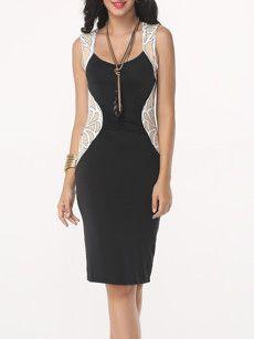 Fashionmia black bodycon dresses with mesh - Fashionmia.com