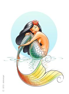 Mermaid with multi color tail sitting art