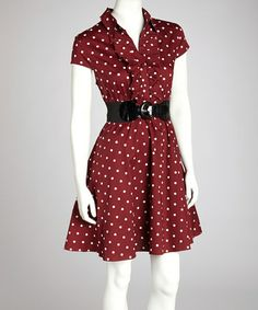 Take a look at this Burgundy & Ivory Polka Dot Belted Collared Dress by Bailey Blue on #zulily today!