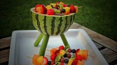 Sooo cute!  Carve a watermelon into a Weber grill, and you'll be the hero of summer - http://www.sheknows.com/food-and-recipes/articles/1004269/watermelon-grill-with-fruit-kabobs