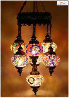 Turkish Style Mosaic Lighting Eclectic Chandeliers Other Metro By Hedef Aydınlatma
