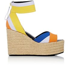 Pierre Hardy Women's Bauhaus Beach Platform Wedge Sandals (€695) ❤ liked on Polyvore featuring shoes, sandals, multi, peep toe wedge sandals, woven sandals, high heel wedge sandals, platform shoes and platform sandals