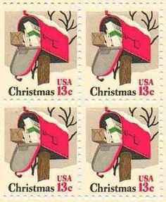 Mailbox Christmas Set of 4 x 13 Cent US Postage Stamps NEW Scot 1730 . $0.50…
