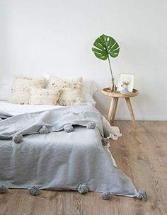 Amazon.com: Moroccan blanket, pom pom blankets,bed spread,moroccan throw blanket,cotton moroccan bedding,pom pom throw blankets,berber moroccan decor: Handmade Cal King Bedding, Twin Xl Bedding, Cute Bedding, Comforter Sets, Grey Throw Blanket, Tola, Moroccan Decor, Moroccan Bedding