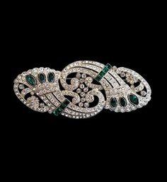 Art Deco Emerald and Diamond Brooch, circa 1928.