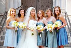 I'm liking the different colored bridesmaid dresses.  As long as the cut is the same.