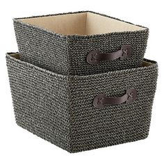 """18"""" x 14"""" x 10"""" h  15-3/4"""" x 12-1/4"""" x 8-3/4"""" hFor storing everything from clothing in the closet to magazines, throws or even toys in the family room, Crochet Bins are an attractive solution. Both sizes offer convenient handles for transport and a refined linen-like lining for a sophisticated natural look."""