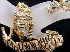 3 Pc Set Tiger Articulated Enamel Rhinestone Shoulder Brooch Bracelet Vintage | eBay