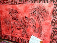 Red Bohemia Hippie Elephant Tree tapestry Bed spread Hippy Tapestry wall hanging #Handmade