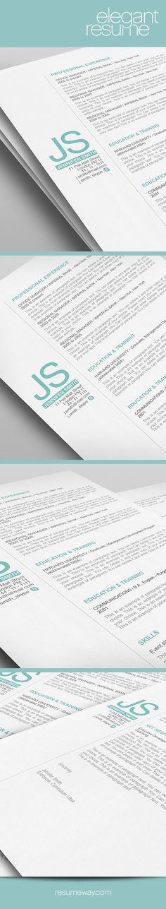 Elegant Resume Template  Premium Line Of Resume  Cover Letter