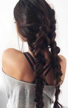 15 Long Dark Brown Hairstyles: Two Braided Dark Brown Hair; 15 Long Dark Brown Hairstyles: Two Braided Dark Brown Hair; Luxy Hair Extensions, Extensions Hair Styles, Dark Brown Hair Extensions, Brown Hair Colors, Hair Day, Hair Looks, Cool Hairstyles, Long Brown Hairstyles, Wedding Hairstyles