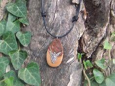 Olive wood pendant with inlaid Angel by ellenisworkshop on Etsy, $31.00