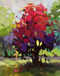 Susan's Red Tree by Trisha Adams Oil ~ 14 x 11 Abstract Landscape Painting, Abstract Trees, Abstract Portrait, Portrait Paintings, Acrylic Paintings, Art Paintings, Abstract Art, Selling Paintings, Tree Artwork