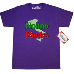 Inktastic Nonno (Italian Grandfather) Rocks T-Shirt Italian Grandfather Family Pride Nonna Nonni Grandmother Grandparents Women Gifts Mens Adult Clothing Apparel Tees T-shirts, Size: XL, Purple