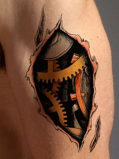 This 3D tattoo features a unique steam punk style that looks amazingly real. Bio-mechanical tattoos are perfect for anyone who has a passion for mechanics or technology. This tattoo is available as a