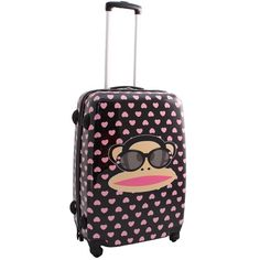 A perfect suitcase for girls, the Paul Frank Hearts Suitcase - http://kidsdotravel.co.uk/childrens-suitcases/suitcases-for-girls/paul-frank-hearts-suitcase-for-girls