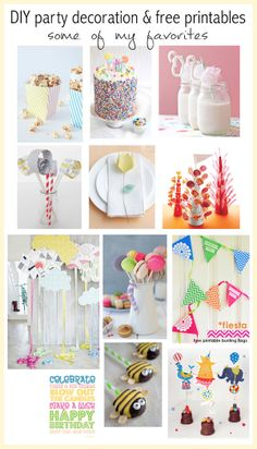 12+ DIY party decoration ideas and free printables - Partydekoration - links