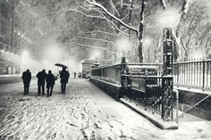 New York City - Snow on a Winter Night by Vivienne Gucwa