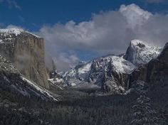 Wide angle image from Tunnel View in Yosemite Valley after a winter snow storm. Bill Gallagher Photography.