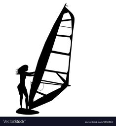 Silhouette of woman windsurfing. Download a Free Preview or High Quality Adobe Illustrator Ai, EPS, PDF and High Resolution JPEG versions.