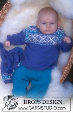 DROPS Baby 10-12 - Norwegian style jumper, trousers, hat and socks in BabyMerino